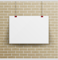 white blank paper wall poster mock up template vector image vector image