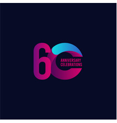 60 years anniversary celebration purple and blue vector