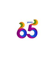 65 years anniversary celebration elegant blue vector