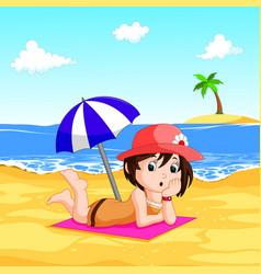 a lady enjoying summer at the beach vector image