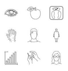 A set of icons about diabetes mellitus symptoms vector
