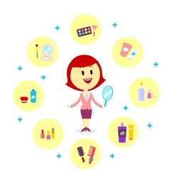 A woman with variety cosmetic products vector
