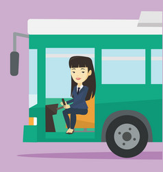 Asian bus driver sitting at steering wheel vector