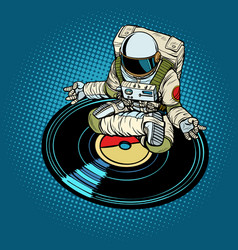 Astronaut man meditates to music yoga vector