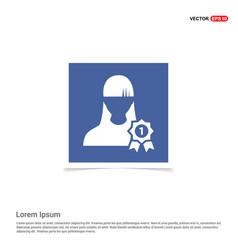 Award user icon - blue photo frame vector
