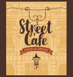 banner for street cafe on background old house vector image