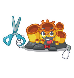 Barber miniature orange sponge coral in character vector