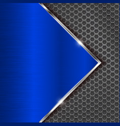 Blue metal perforated background with perforation vector