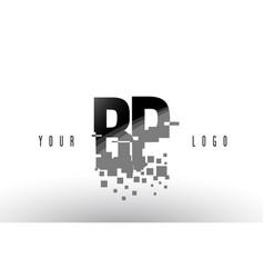 Bp b p pixel letter logo with digital shattered vector