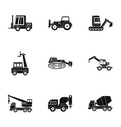 building vehicle icon set simple style vector image