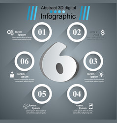 business six infographics origami style vector image