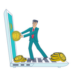 Businessman taking bitcoins out of laptop screen vector
