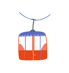 cable car red ropeway cabin cartoon vector image