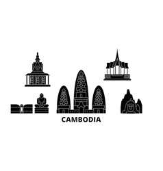 cambodia flat travel skyline set cambodia black vector image