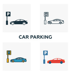 car parking outline icon thin style design from vector image