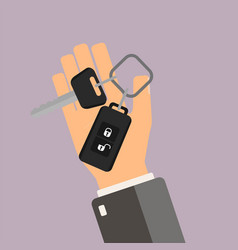 Car rental or sale concept hand hold car key vector