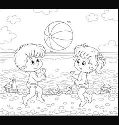 Children playing a big ball on a beach vector