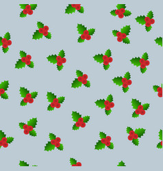 christmas and new year seamless mistletoe vector image