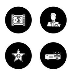 Cinema glyph icons set vector