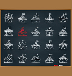 circus tent chalk draw line icons set vector image