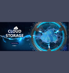 cloud computing online storage futuristic style vector image
