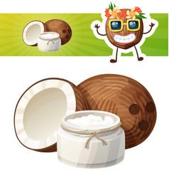 Coconut oil in a glass jar cartoon icon vector