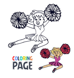 Coloring page with woman cheerleader cartoon vector