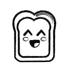 Contour kawaii cute happy bread icon vector