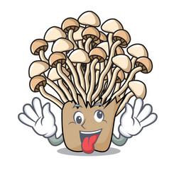 Crazy enoki mushroom mascot cartoon vector