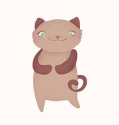 cute and funny cartoon cat character cartoon vector image