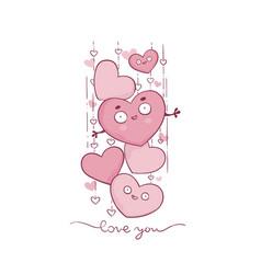 cute and kawaii valetine greeting card vector image