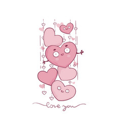 cute and kawaii valetine greeting card with vector image