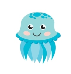 Cute happy jellyfish cartoon character sea animal vector