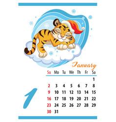 cute tiger wall calendar january template 2022 vector image