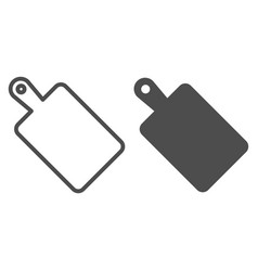 Cutting board line and glyph icon wooden board vector