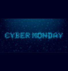 Cyber monday futuristic cyberpunk glitch banner vector