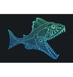 Deep water predator fish attacking vector image