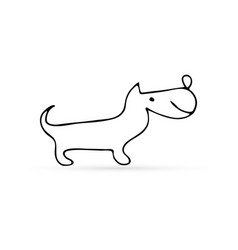 Doodle animal icon isolated on white outline dog vector