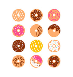 Doodle donuts set vector