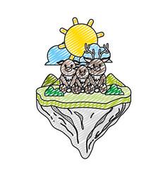 doodle family deer animal in float island vector image