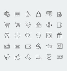 E-commerce and online shopping related icon set vector