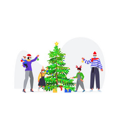 family decorating christmas tree parents vector image