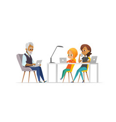 Family of programmers happy girl and parents vector