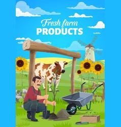 farmer planting tree in garden cartoon vector image
