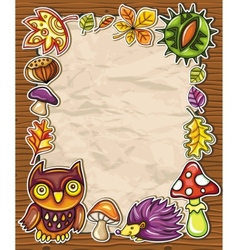 Frame with autumnal nature symbols vector