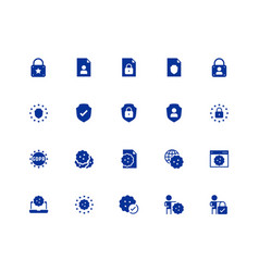 Gdpr privacy policy icon set in glyph style 48x48 vector