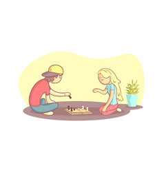 girl and guy sitting on floor and playing vector image