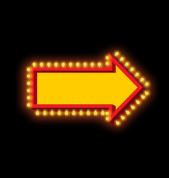 Glowing arrow with lamps luminous pointer retro vector