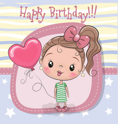 Greeting card girl with balloon vector