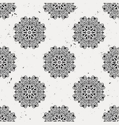 grunge seamless pattern with round floral ornament vector image